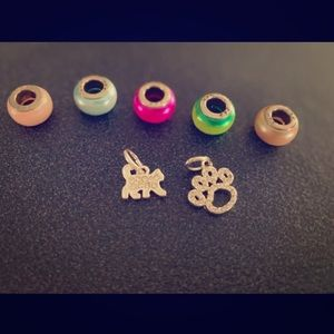 Costume beads and two charms